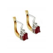 Auksiniai auskarai su rubinais ir briliantais