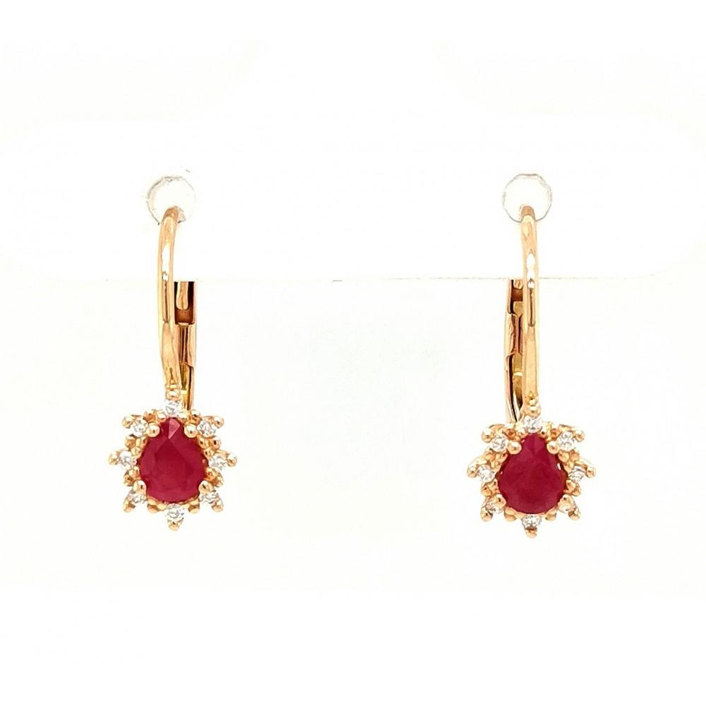 Auksiniai auskarai su briliantais ir rubinais
