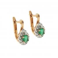 Auksiniai auskarai su smaragdais ir deimantais