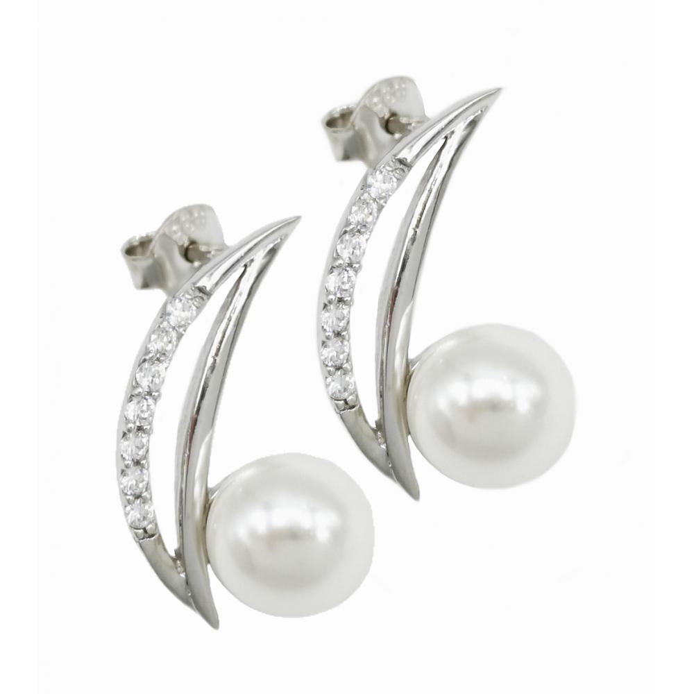 Auksiniai auskarai su perlo imitacija ir cirkoniais