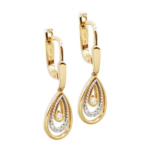Auksiniai auskarais su briliantais