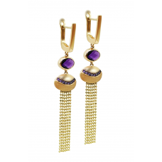 Auksiniai auskarai su ametistu