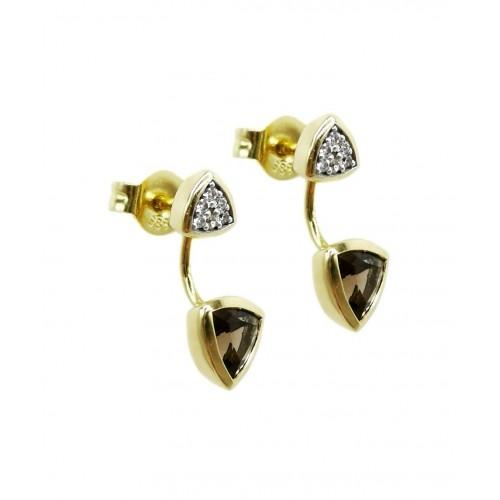 Auksiniai auskarai su dūminiu kvarcu