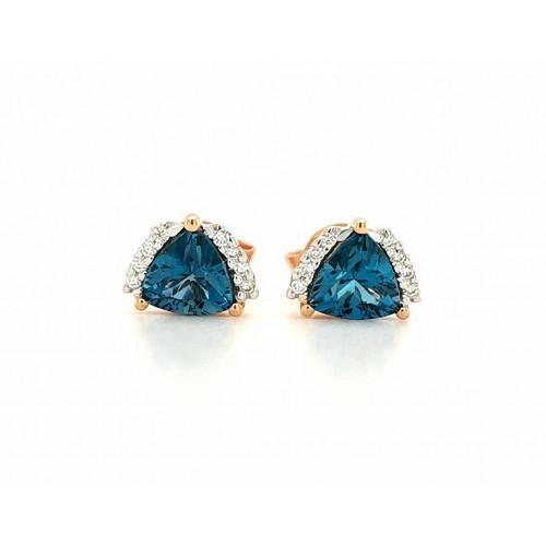 Auksiniai auskarai su briliantais ir Londono topazu
