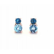 Auksiniai auskarai su mėlynuoju topazu