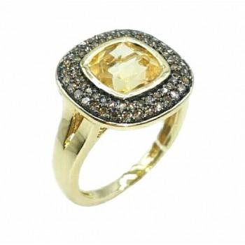 Auksinis žiedas su citrinitu ir deimantais