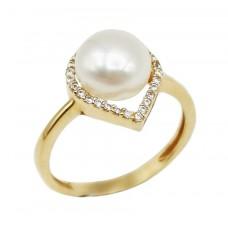 Auksinis žiedas su perlu