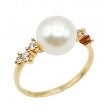 Auksinis žiedas su perlu ir cirkoniais
