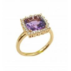 Auksinis žiedas su ametistu ir briliantais