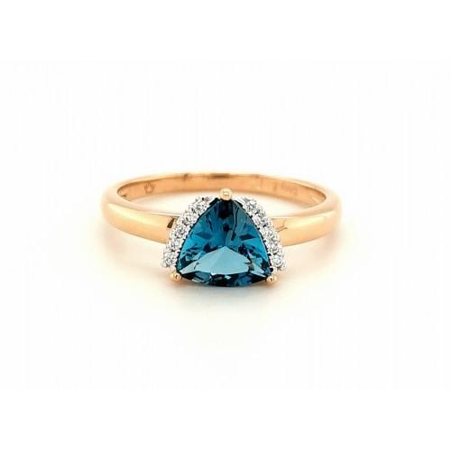Auksinis žiedas su briliantais ir Londono topazu