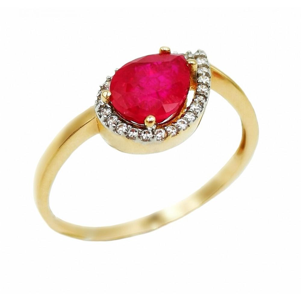 Auksinis žiedas su kristalu ir cirkoniais