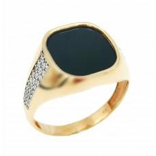 Auksinis žiedas su oniksu ir cirkoniu