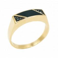 Auksinis žiedas su oniksu
