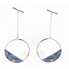 Sidabriniai auskarai su perlais ir cirkoniu