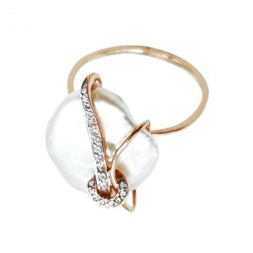 Auksinis žiedas su kriaukle ir cirkoniu