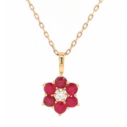 Auksinis pakabukas su briliantais ir rubinais
