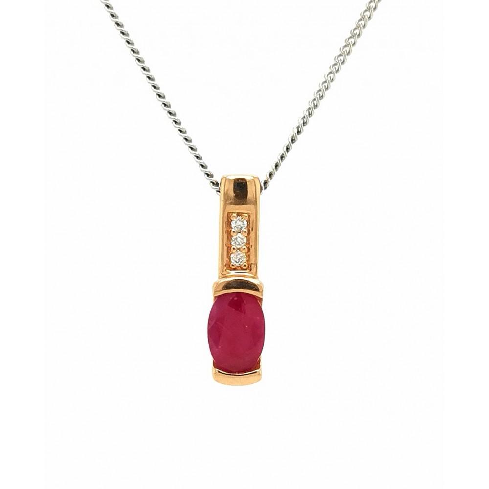 Auksinis pakabukas su rubinu ir briliantais