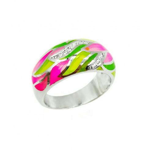 Sidabrinis žiedas su emale